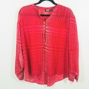a.n.a Red Sheer Long Sleeves Blouse Petite Size PL